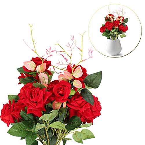 Rote Rose Gefälschte Blumen Seide Plastik Material für Daheim, Garten, Hochzeitsstrauß, Party Dekoration, Tisch Mitte Frieden, Wand Dekoration - Rot ()