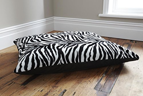 •ROHILinen• PET DOG BED CUSHION, REMOVABLE ZIPPED COVER ZEBRA ANIMAL PRINT FAUX FUR, Anti-Dust mite & Hypo-Allergenic, LARGE SIZE