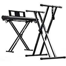 Duronic KS2B (Certified Refurbished) Height Adjustable Twin X Frame Keyboard Stand, with Quick Pull Release Mechanism - Black