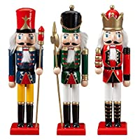 CampHiking Nutcracker Christmas Decorations,30cm 3PCS/Set Large Christmas Nutcracker Traditional Soldier - 100 Wooden | Puppet Ornaments Doll Toys New Year Gifts For Kid Children