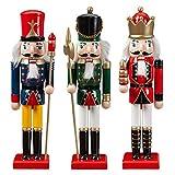 Luckybaby Conjunto de 3 muñecas de Madera de Cascanueces de Navidad, Cascanueces de Madera de colección de 30 cm, Regalo de año Nuevo, decoración de la habitación de los...