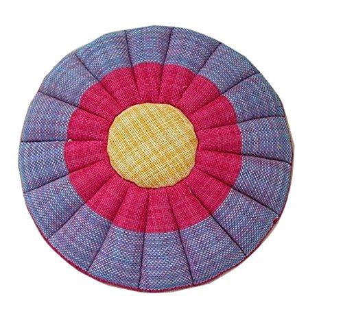 TOPJIN Tapis de Yoga en Lin 50,8 x 50,8 cm Tatami Balcon galettes de Chaise Home pour Baie vitrée Canapé Coussinets, Polyester, Rose Rouge, 50cmx50cm