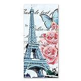 Schmetterling Print Vintage Eiffelturm Bad Handtücher mit Pink Rose Blume Mikrofaser Antik Strandtuch Sales Dick Weich Quick Dry leicht, saugfähig, und Plüsch Badetuch 50,8x 101,6cm, design 1, 28 x 59 Inch