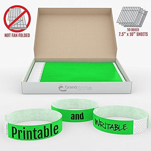 GrandstandStore.com Tyvek 500CT Bracelets adhésifs pour accès VIP Vert néon 19mm