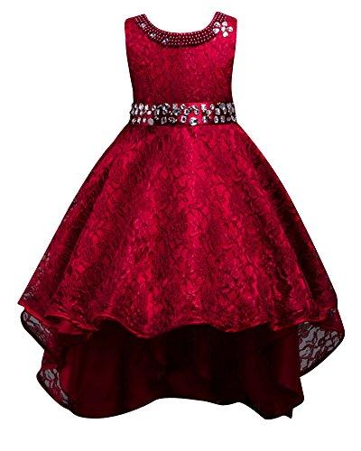 Paillettes vestito lungo ragazze elegante principessa abito bowknot trailing abiti da sera matrimonio cerimonia vino rosso 120cm