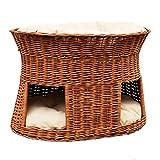 2-21-1 GalaDis Große Katzenhöhle XXL (75 x 55 x 53 cm) aus Weide mit zwei Kissen / Katzenkorb / Katzenbett für eine oder zwei Katzen / Katzenturm / Katzenbett / auch f. Maine Coon & Co.
