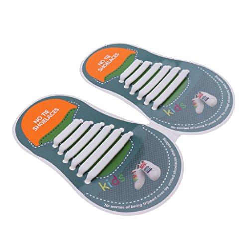 D DOLITY Elastische Silikon Schnürsenkel – flexibler Schuhbänder Ersatz ohne Binden - Kinder - Weiß, wie beschrieben