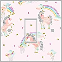 Red Parrot Graphics Unicorn Girls Light Switch Cover Wrap Skin UK Single Switch Sticker Vinyl Decal (8.4cm x 8.4cm)