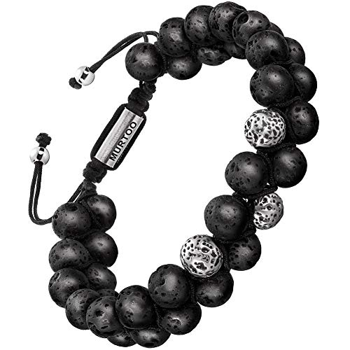 enarmband Stein Armband aus Lava Rock mit einstellbar Verschluss Parfum Diffusor,7''-9'' Perfektes Geschenk (große perlen neu) ()