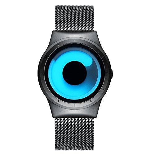 Herren Einfacher Designer Uhren Schwarz Mesh Strap Luxus Datum Kalender Ultra Slim Armbanduhr Edelstahlband 30M Wasserdicht Geschäft Lässig Uhr Blau Dial