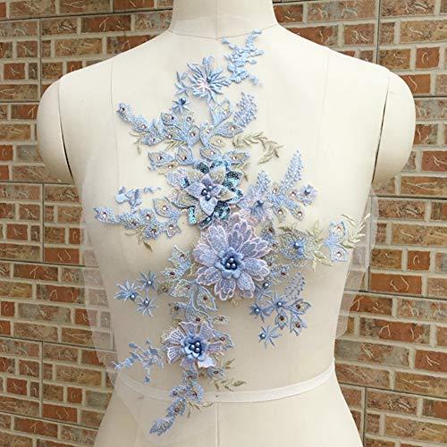 LNIMIKIY Spitzenapplikation Damen-Kleid DIY Hochzeit Tüll Blumen 3D Stickerei Brautschmuck Elegant Bühnen-Kostüm Teil Perlen (blau) (Diy Tüll Blumen)