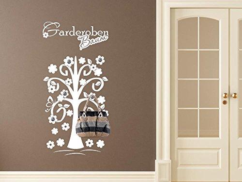 GRAZDesign 970215_45_080 Wandtattoo Garderobe Inkl. 5 Wandhaken Für Flur  Spruch Garderoben Baum Blumen (91x45cm//080 Braun//Haken 5Stück)