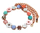 Israeli Amaro Jewelry Studio 'Flow' Collection 24K Rose Gold Plated Necklace Set with Amazonite, Blue Lace Agate, Faux Mother of Pearl, Pink Quartz, Variscite, Swarovski Crystals