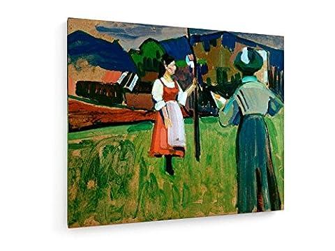 Gabriele Münter - Gemälde von Wassily Kandinsky - 60x50 cm - Textil-Leinwandbild auf Keilrahmen - Wand-Bild - Kunst, Gemälde, Foto, Bild auf Leinwand - Alte Meister / (Russische Folklore Kostüme)