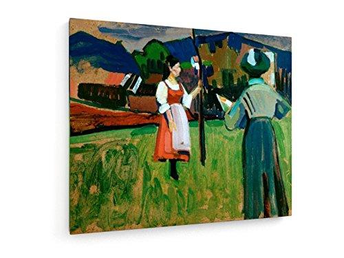 emälde von Wassily Kandinsky - 60x50 cm - Textil-Leinwandbild auf Keilrahmen - Wand-Bild - Kunst, Gemälde, Foto, Bild auf Leinwand - Alte Meister/Museum (Russische Volkstracht)