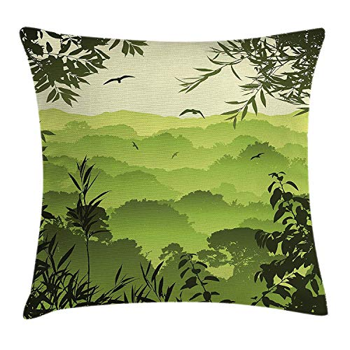 Azfaiop Forest Throw Pillow Cushion Cover, Forest Scenery with Tea Trees and Gulls in The Jungle Birds Branches Eco Graphic Work, Decorative Square Accent Pillow Case,Inches, Green 16x16 inch -