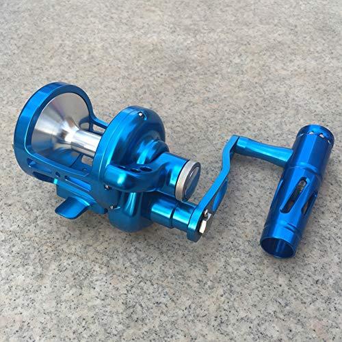 HS-QIAN Angelrolle Spinnrad Drehzahlverhältnis 4,9: 1 Bremskraft 30Kg 9 + 2BB Leichtes Bootsangelrad Blau,Righthand