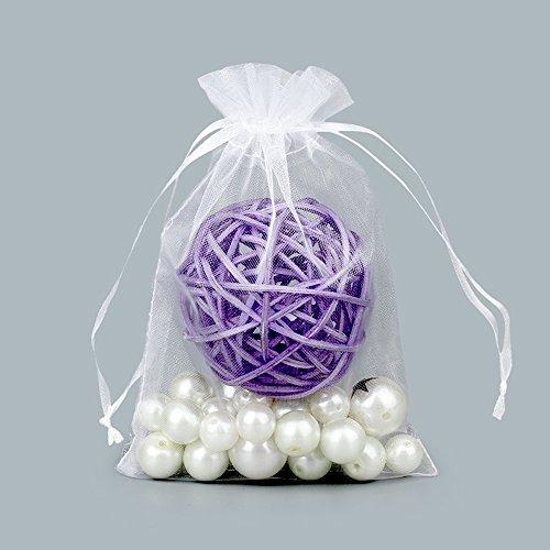 13cm x 18cm Organza-Geschenk-Taschen mit Kordelzug für Hochzeit Beutel Taschen und Geburtstag Party Schmuck Festival Süßigkeiten Schokolade Taschen (Weiß) (Großer Organza-beutel)