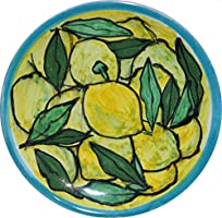 Lemons -Ceramic dish and decorated by hand, diameter inch 4.6 high inch 0.7-MADE in ITALY Tuscany Lucca, certified.