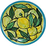 Limoni-Piatto di ceramica smaltato e decorato a mano, diametro cm 11,8 alto cm2-MADE in ITALY Toscana Lucca, certificato.