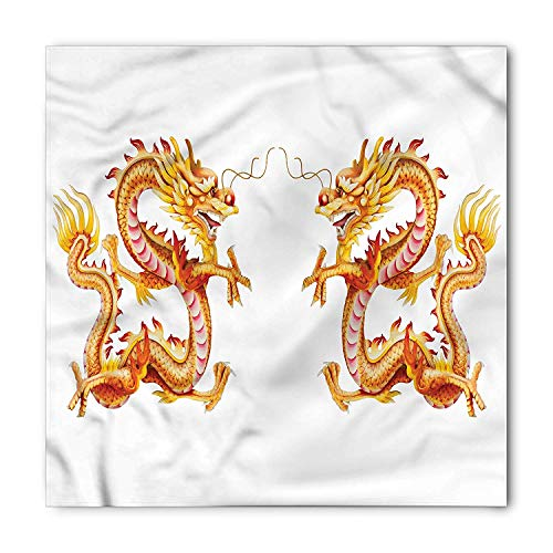 Dragon Bandana, Twin Fire Dragon Zodiac Statues Asian Art Chinese Philosophy Themed Picture, Printed Unisex Bandana Head and Neck Tie Scarf Headband, 22 X 22 Inches, Vermilion Yellow Dragon Silk Coat