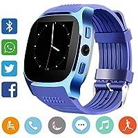 CanMixs Smart Watch CF02 Supporto SIM TF Card, orologio da polso con fotocamera contapassi monitor sonno Message Sync Notifier lettore musicale Sedentary per Android Samsung Huawei HTC ZTE (blu)