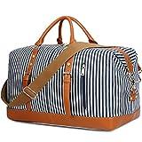 Weekend Reisetasche Damen Duffle Tragetaschen PU Leder Trim Canvas Reisetasche Gepäck (Blau)