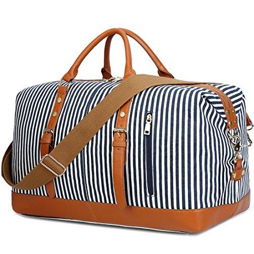 Weekend Reisetasche Damen Duffle Tragetaschen PU Leder Trim Canvas Reisetasche Gepäck (Blau) (Blau Weekender)