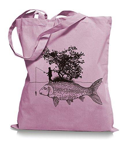 Ma2ca® Carp Fishing Angler Stoffbeutel Jutebeutel Tasche Tragetasche / Bag WM101 Classic Pink