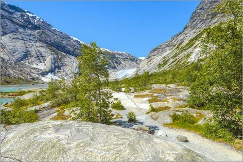 Alu Dibond 30 x 20 cm: Birkenlandschaft mit Gletscher von Jürgen Feuerer