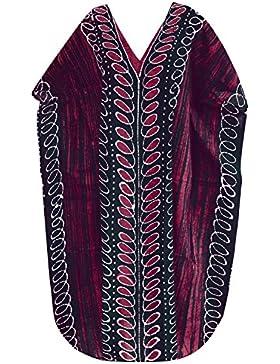 *La Leela****** lungo caftano costumi da bagno beachwear cotone mano donne batik notte usura evevning vestito