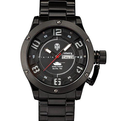 INFANTRY® Herren Analoges Quarzwerk Armbanduhr Datum Day Sport Schwarz Edelstahl Uhrenband World of Tanks
