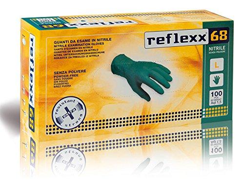 Reflexx R68/L Nitrilhandschuhe, puderfrei, gr 6,0, grün, 100 Stück, XL, grün, 100