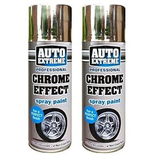 2 x Auto Extreme Professional Chrome Effect Spray Perfect Finish Petrol Resistance 400ml