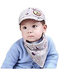 Culater® Moda Lindo Traje De Baberos De Los Cabritos Del Bebé Del Sombrero Del Sol Del Visera (Gris)