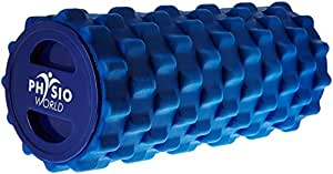 PhysioWorld Grid Foam Roller Blue 33x15cm Trigger Point Massage, Yoga, Pilates
