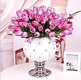 StillCool Blumen Tulpen Künstliche mit Blättern für Hochzeits-Blumenstrauß Deko Blumen Tischdeko Blumendeko Kunstblumen in 7 Farben Blumendekoration(dunkel rosa, 12)
