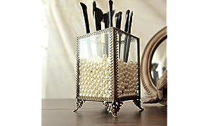 PuTwo Rangement Maquillage Pinceux Organisateur Maquillage Style Classique Motif Dentelle des Perles Blancs Graduites - Petit