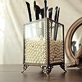 PuTwo Pinselhalter Pinsel Organizer mit weißen Perlen, Vintage Pinsel Aufbewahrung Schmink Aufbewahrung aus dickem Glas im klassischen Stil , Vintage  Kosmetik Aufbewahrung- Glas, klein