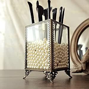 PuTwo Makeup Organiser Premium Glass Vintage Makeup Brushes Holder with White Pearls - Small