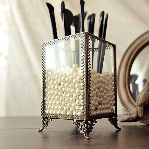 PuTwo Pinselhalter Pinsel Organizer mit weißen Perlen, Vintage Pinsel Aufbewahrung Schmink...