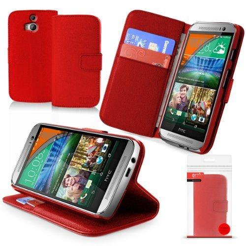 Orzly® - HTC ONE MINI (2014) Multi-Function Wallet Stand Case - SCHUTZHÜLLE mit integrierte BRIEFTASCHE + STAND - Flip Stil Fall / Tasche / Handytasche in ROT mit Magnetischen Deckel - Hülle Entwurf exklusiv für Neuest Modell der HTC ONE MINI SmartPhone / Mobille Handy (Alias: HTC ONE M8 Mini / All New 2014 HTC ONE MINI / HTC ONE MINI 2 / v2 / etc.) (Neueste Htc One M8-fall)