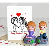 TiedRibbons Valentine's gift for Girlfriend Boy friend Husband Wife Him Her(2 Love Showpieces with Greeting Card)