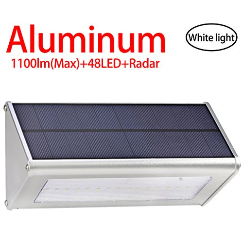 Licwshi 1100 lumens(max) lampe solaire 48LED avec coque en alliage d'aluminum, imperméable en plein air, radar-détection de mouvement, s'appliquant au porche, jardin, cour, garage - lumière blanche(2017 nouvelle version-1 Pack)