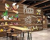 Benutzerdefinierte Wandbild Handgemalte Pizza Essen 3D Fototapete Fast Food Restaurant Bar Hotel Wand 3d Tapete, 300cmX210cm