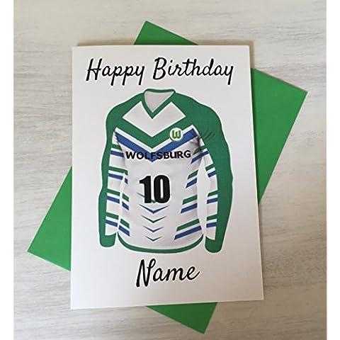 Personalizzato calcio Wolfsburg–Biglietto di auguri per compleanno qualsiasi nome e numerati Shirt - Custodia Regalo Personalizzato Scheda