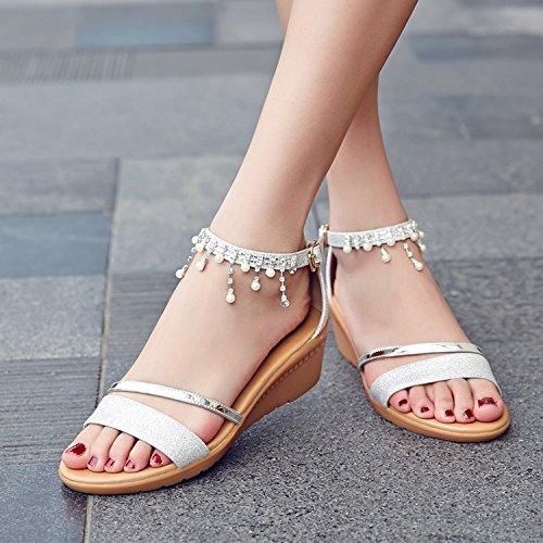 XY&GKIm Sommer ein Wort mit einer flachen Boden Sandalen Steine Quasten und Studenten mit Frauen Sandalen, komfortabel und schön 40 Silver