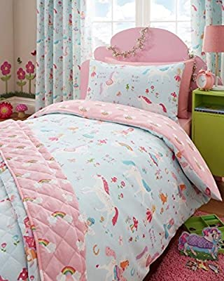 Single Duvet set & Curtains - Girls Unicorn Fairies & Rainbow Bedding - inexpensive UK light shop.