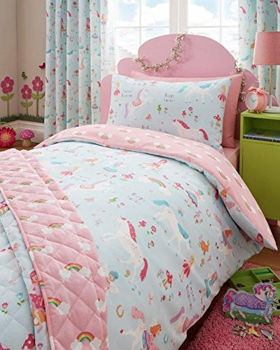 Single Duvet set & Curtains – Girls Unicorn Fairies & Rainbow Bedding (Single Set (no curtains))