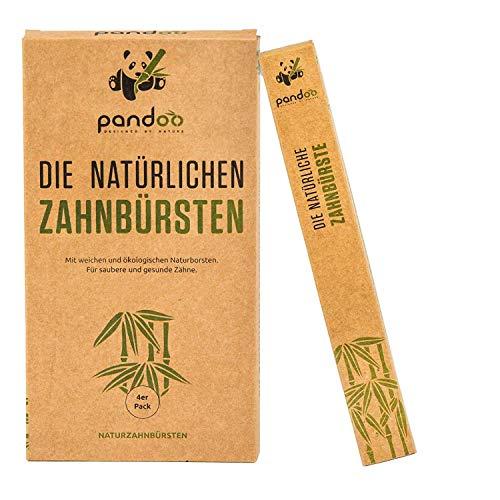 pandoo 4er-Sparset umweltfreundliche Hand-Zahnbürste | Für Erwachsene und Kinder (Mittel bis Weich) | Vegan, Bio, Holzfrei, BPA Frei | Bamboo Toothbrush